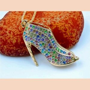 Gorgeous colorful high heel sweater necklace